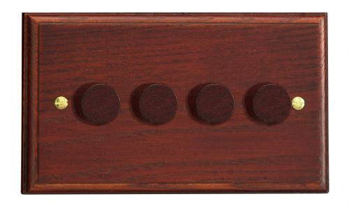 Varilight HK44M Kilnwood Mahogany 4 Gang 2-Way Push-On/Off Dimmer 40-250W V-Dim